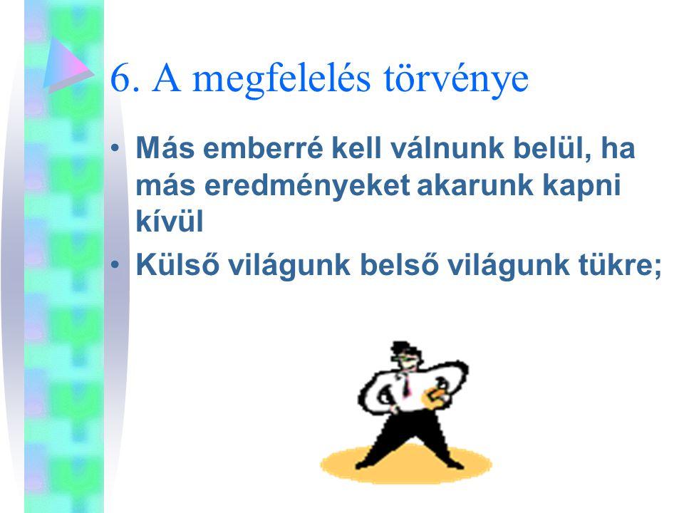 6. A megfelelés törvénye Más emberré kell válnunk belül, ha más eredményeket akarunk kapni kívül.