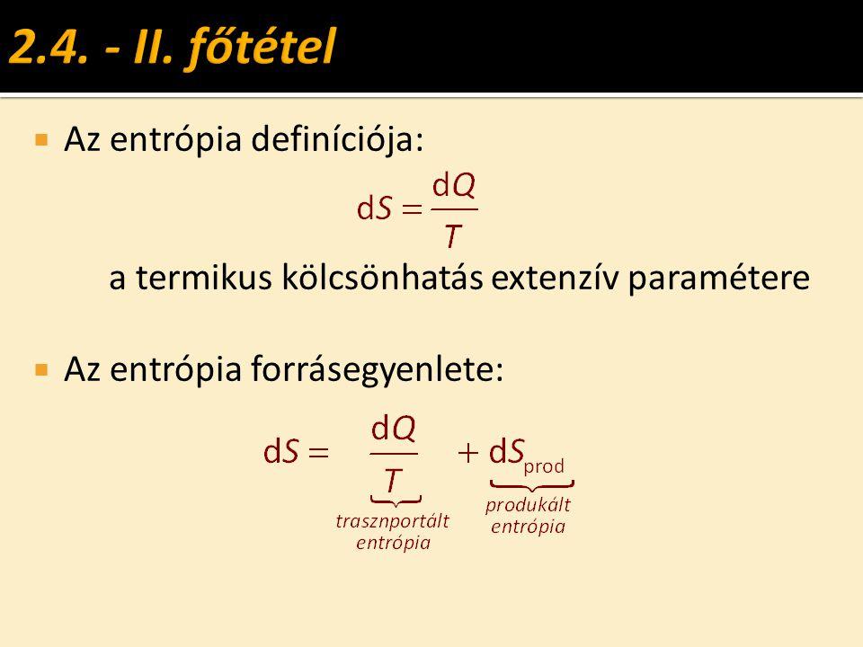 2.4. - II. főtétel Az entrópia definíciója: