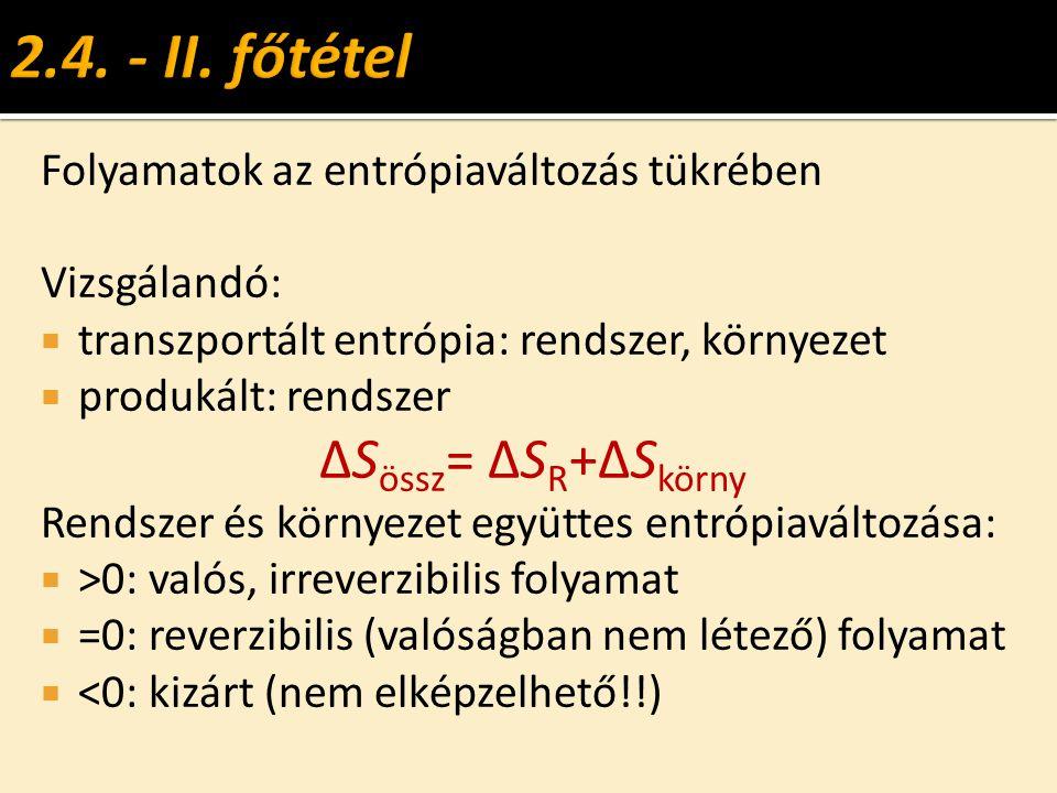 2.4. - II. főtétel ΔSössz= ΔSR+ΔSkörny