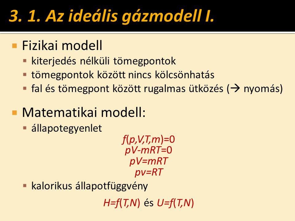 3. 1. Az ideális gázmodell I. Fizikai modell Matematikai modell: