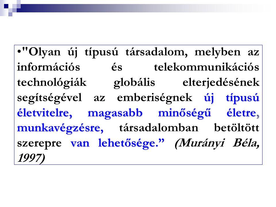 Olyan új típusú társadalom, melyben az információs és telekommunikációs technológiák globális elterjedésének segítségével az emberiségnek új típusú életvitelre, magasabb minőségű életre, munkavégzésre, társadalomban betöltött szerepre van lehetősége. (Murányi Béla, 1997)