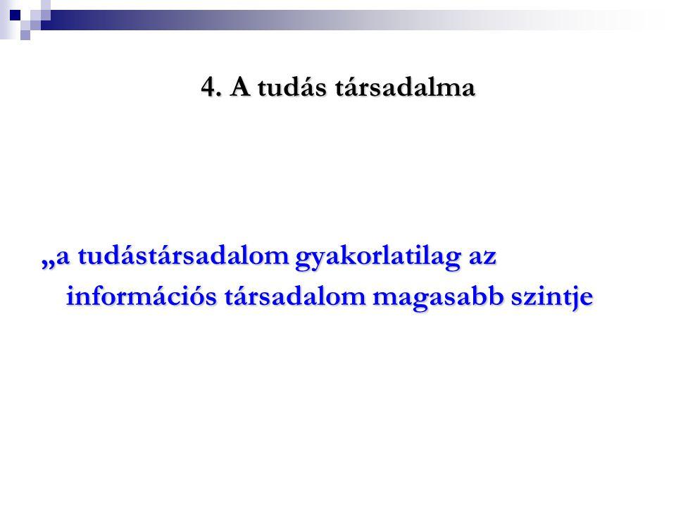 """4. A tudás társadalma """"a tudástársadalom gyakorlatilag az információs társadalom magasabb szintje"""
