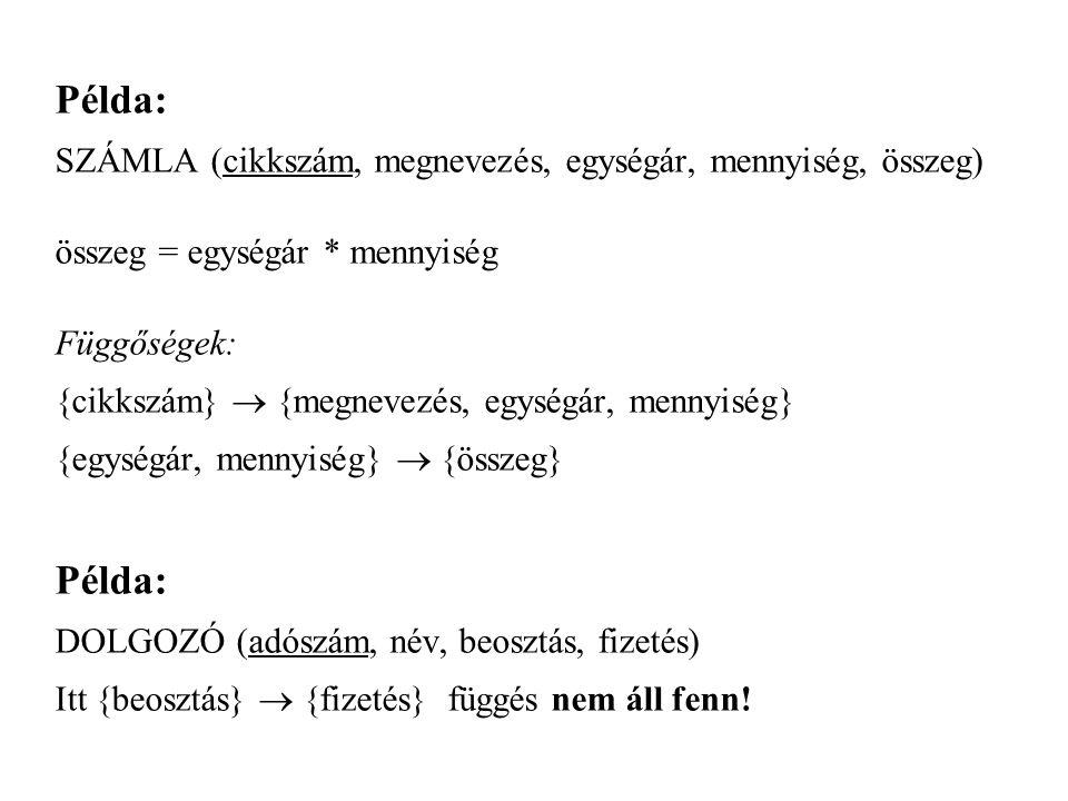 Példa: SZÁMLA (cikkszám, megnevezés, egységár, mennyiség, összeg)