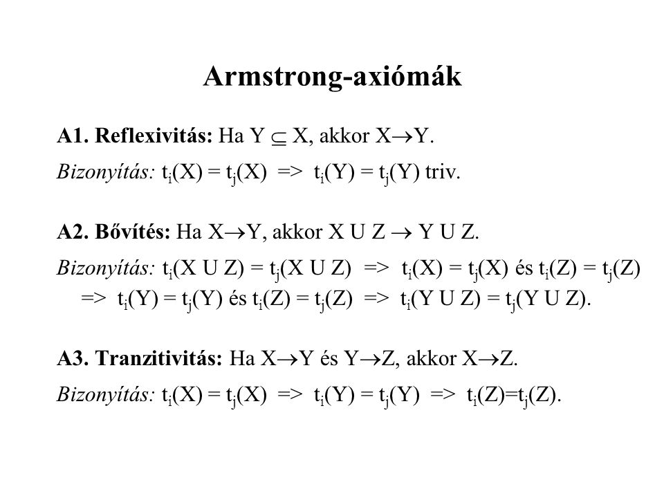 Armstrong-axiómák A1. Reflexivitás: Ha Y  X, akkor XY.