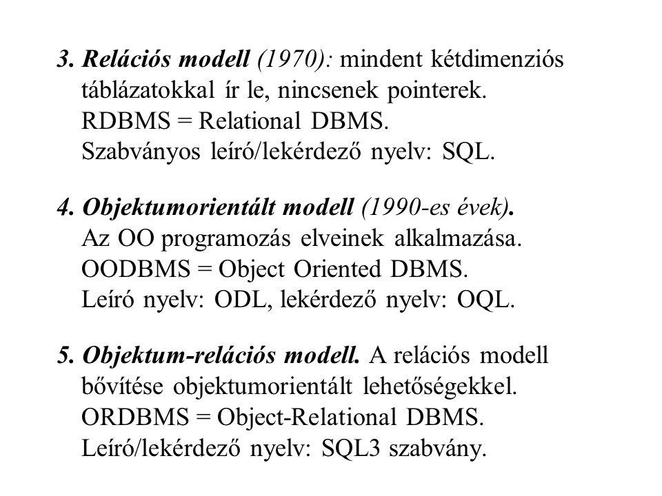 3. Relációs modell (1970): mindent kétdimenziós táblázatokkal ír le, nincsenek pointerek. RDBMS = Relational DBMS. Szabványos leíró/lekérdező nyelv: SQL.