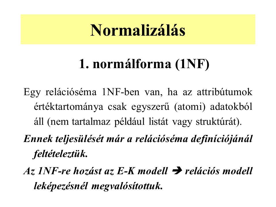 Normalizálás 1. normálforma (1NF)