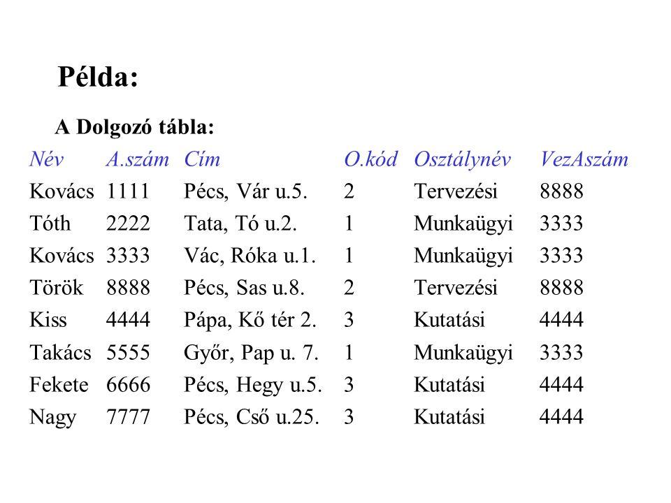 Példa: A Dolgozó tábla: Név A.szám Cím O.kód Osztálynév VezAszám