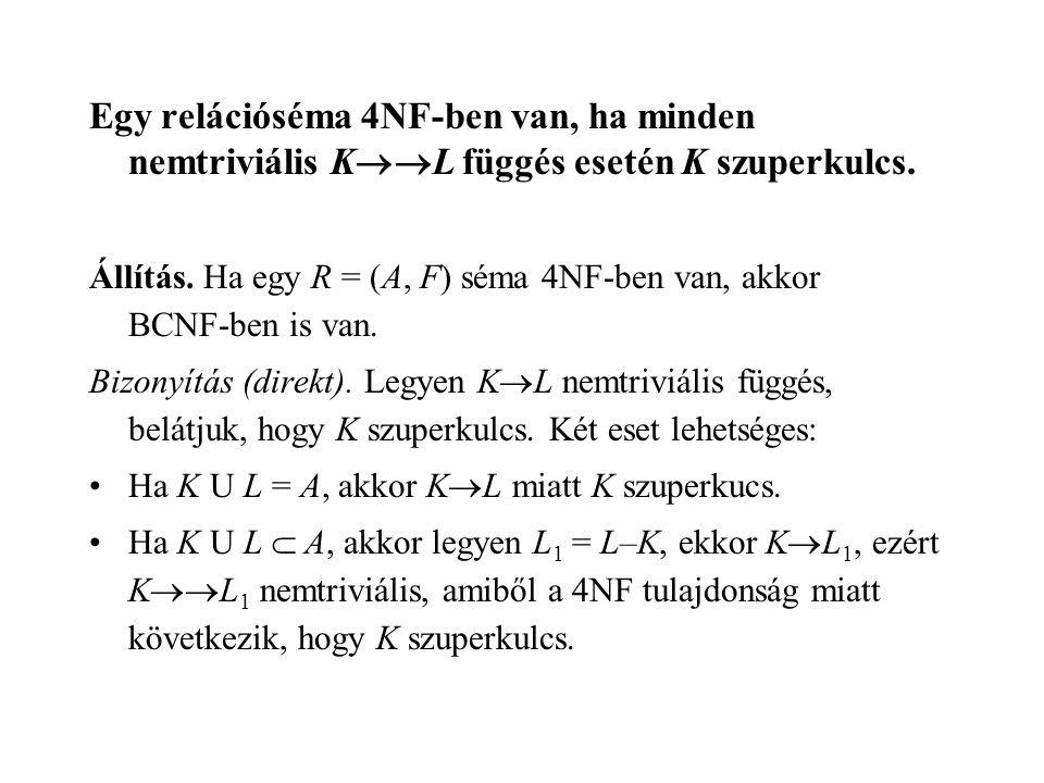 Egy relációséma 4NF-ben van, ha minden nemtriviális KL függés esetén K szuperkulcs.