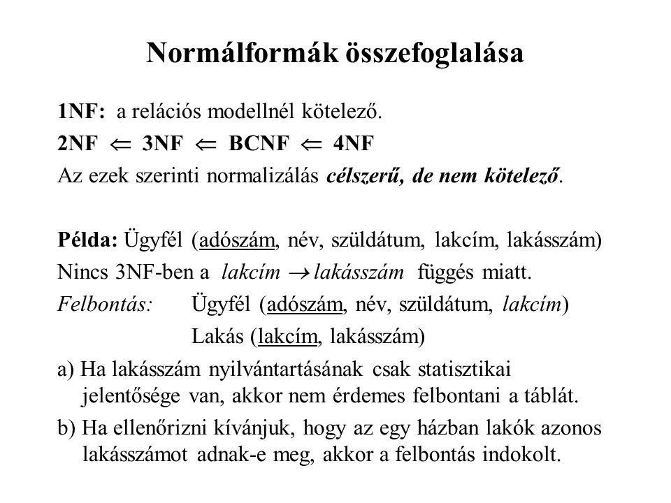 Normálformák összefoglalása