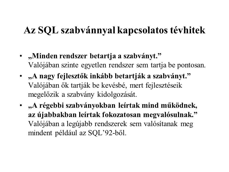 Az SQL szabvánnyal kapcsolatos tévhitek