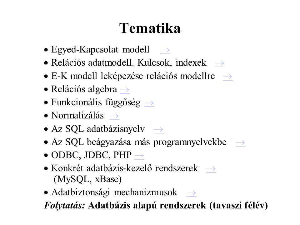 Tematika Egyed-Kapcsolat modell 