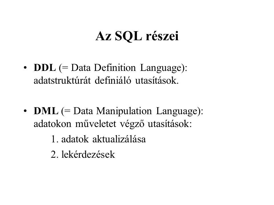 Az SQL részei DDL (= Data Definition Language): adatstruktúrát definiáló utasítások.
