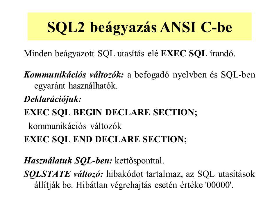 SQL2 beágyazás ANSI C-be