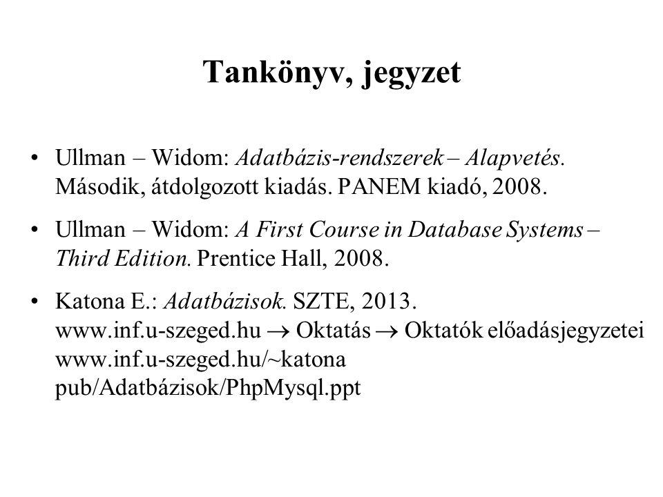 Tankönyv, jegyzet Ullman – Widom: Adatbázis-rendszerek – Alapvetés. Második, átdolgozott kiadás. PANEM kiadó, 2008.