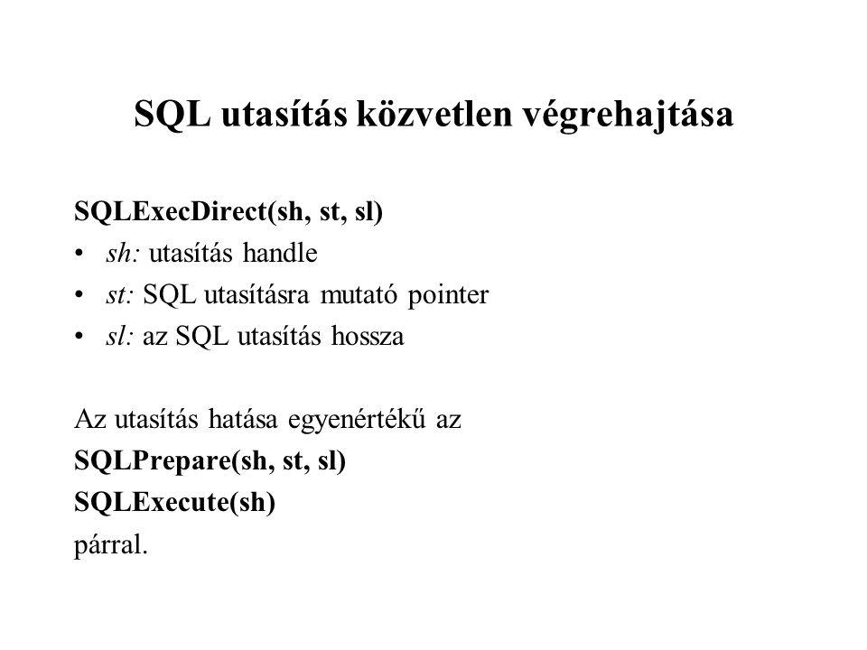 SQL utasítás közvetlen végrehajtása