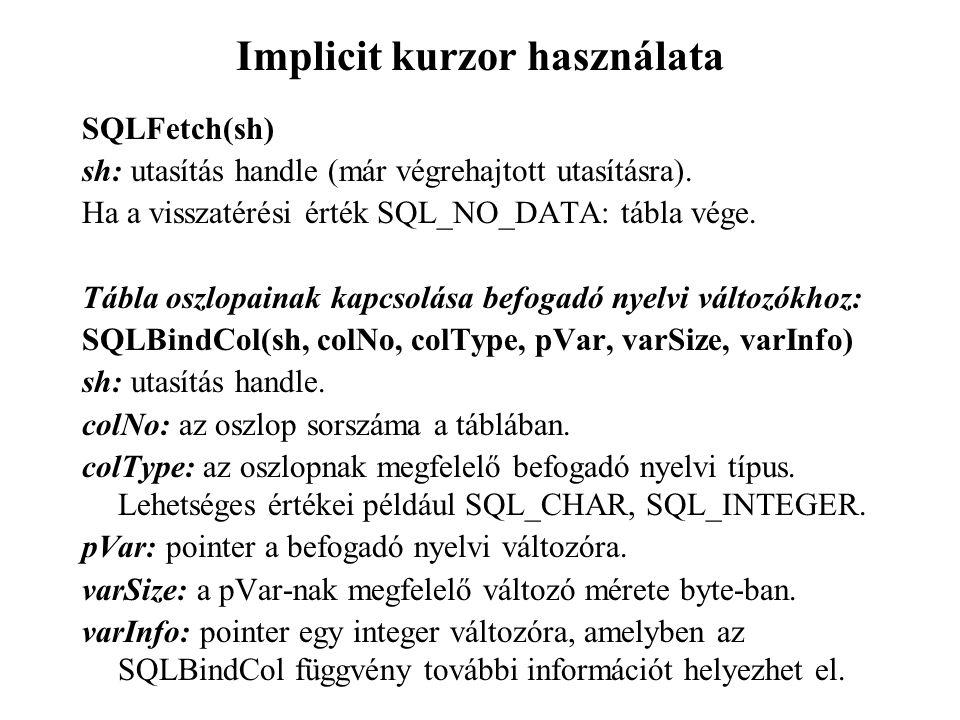 Implicit kurzor használata