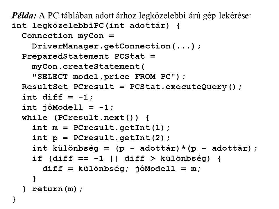 Példa: A PC táblában adott árhoz legközelebbi árú gép lekérése: