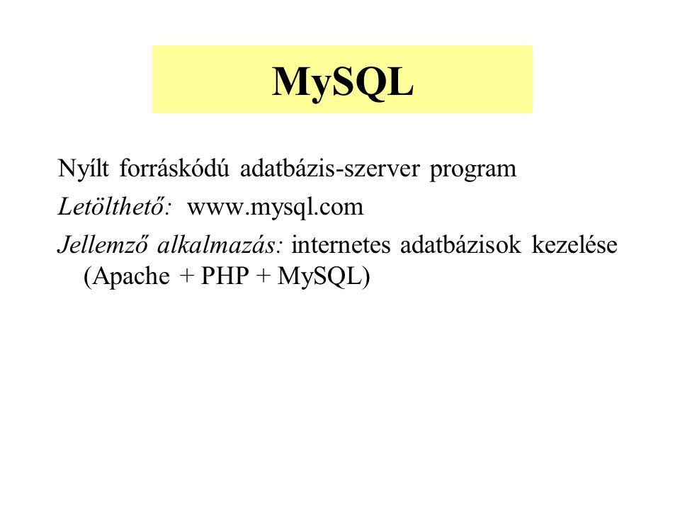 MySQL Nyílt forráskódú adatbázis-szerver program