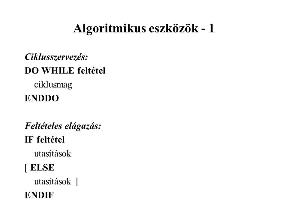 Algoritmikus eszközök - 1