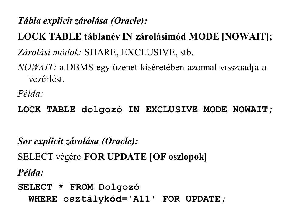 Tábla explicit zárolása (Oracle):