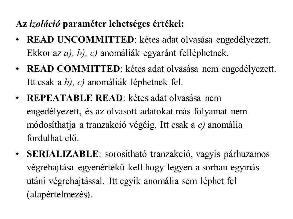 Az izoláció paraméter lehetséges értékei: