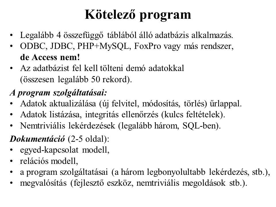 Kötelező program Legalább 4 összefüggő táblából álló adatbázis alkalmazás. ODBC, JDBC, PHP+MySQL, FoxPro vagy más rendszer, de Access nem!