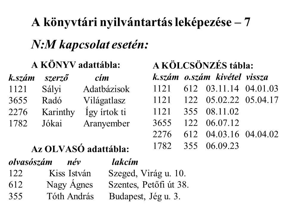 A könyvtári nyilvántartás leképezése – 7 N:M kapcsolat esetén: