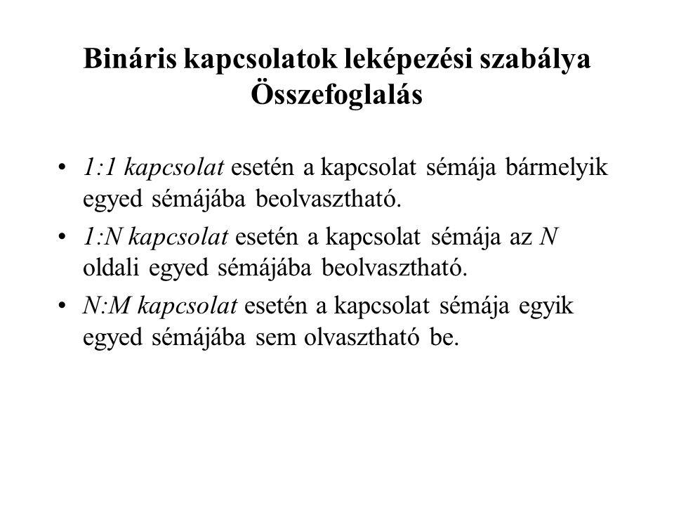Bináris kapcsolatok leképezési szabálya Összefoglalás