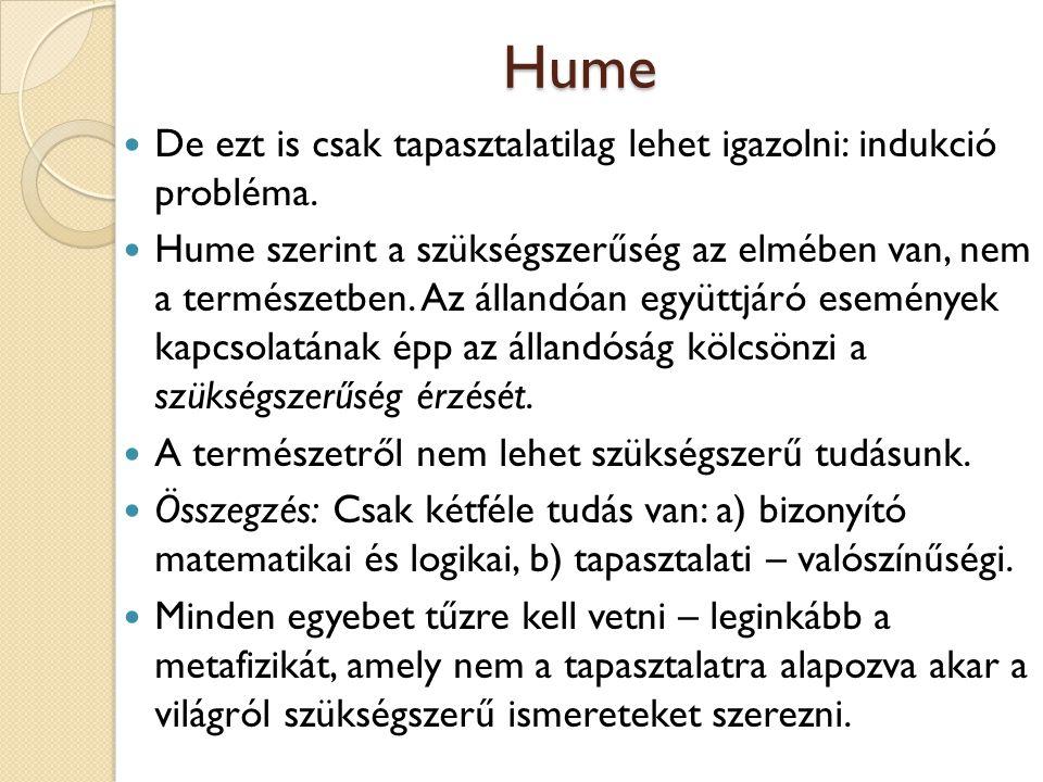 Hume De ezt is csak tapasztalatilag lehet igazolni: indukció probléma.