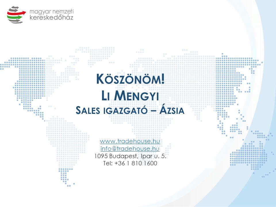 Köszönöm. Li Mengyi Sales igazgató – Ázsia www. tradehouse