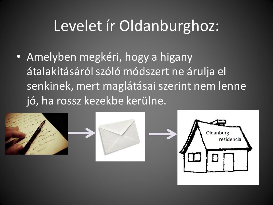 Levelet ír Oldanburghoz: