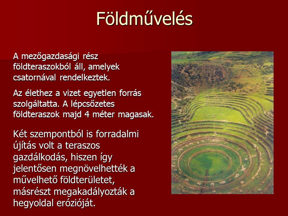 Földművelés A mezőgazdasági rész földteraszokból áll, amelyek csatornával rendelkeztek.