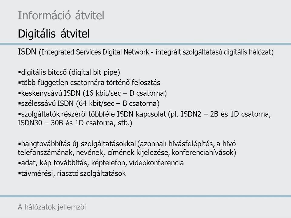 Információ átvitel Digitális átvitel