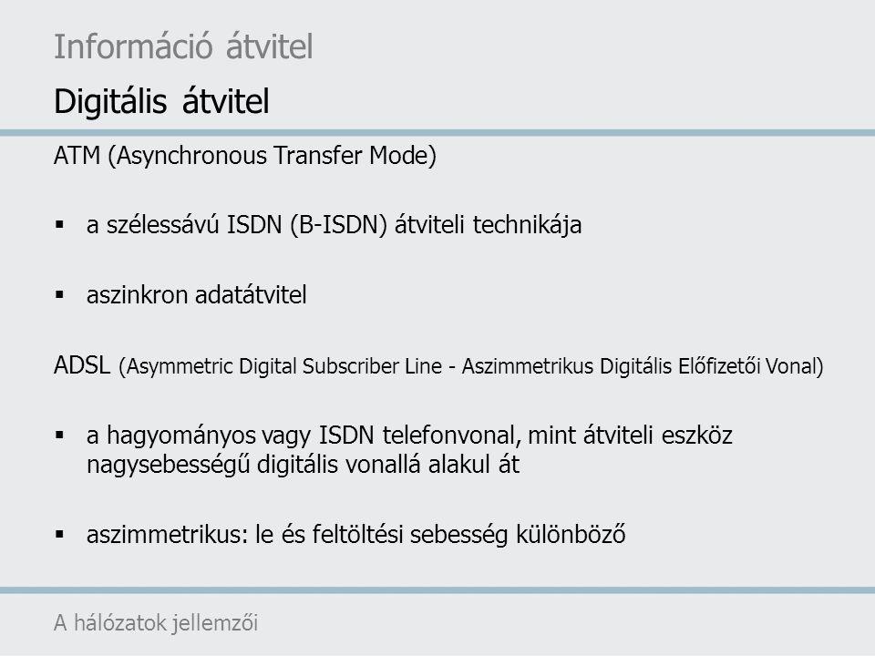 Információ átvitel Digitális átvitel ATM (Asynchronous Transfer Mode)