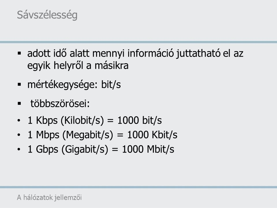 Sávszélesség adott idő alatt mennyi információ juttatható el az egyik helyről a másikra. mértékegysége: bit/s.
