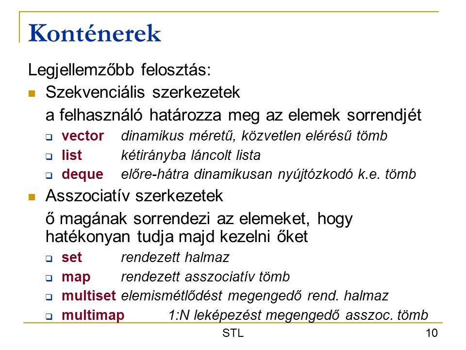 Konténerek Legjellemzőbb felosztás: Szekvenciális szerkezetek