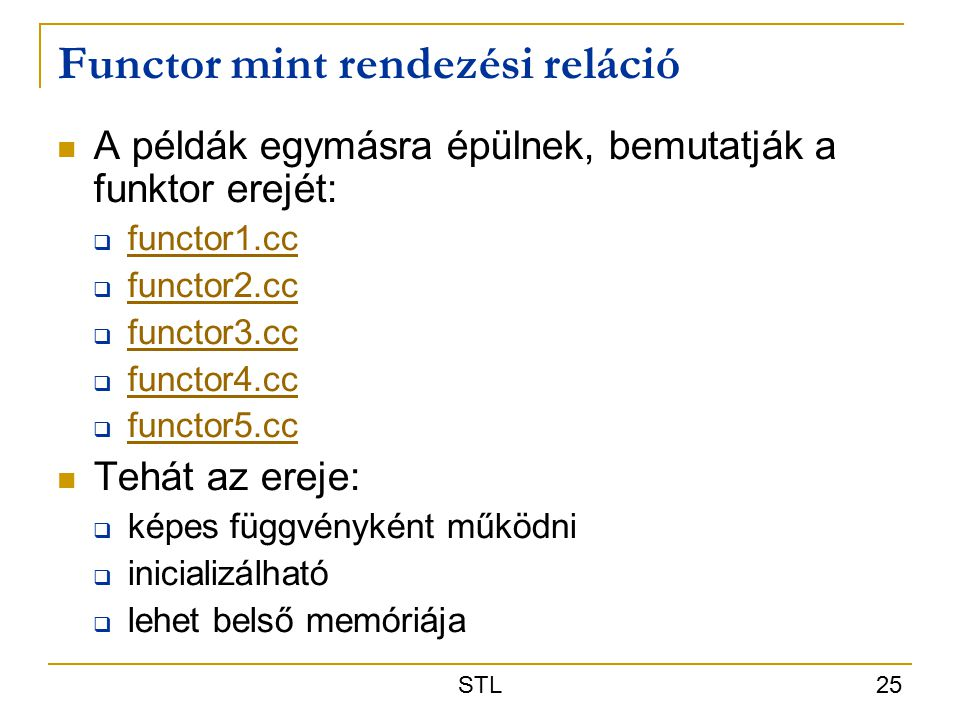 Functor mint rendezési reláció