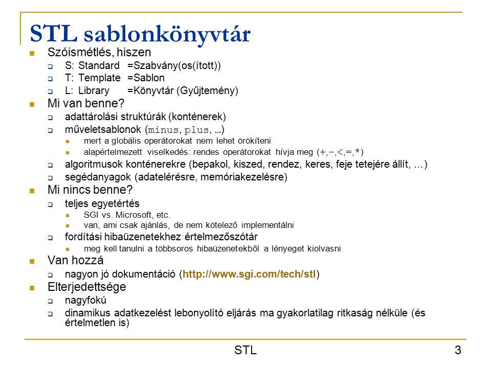STL sablonkönyvtár STL Szóismétlés, hiszen Mi van benne