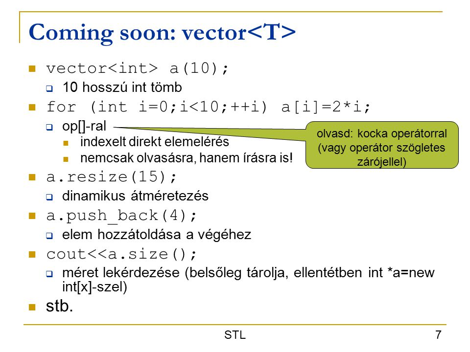 Coming soon: vector<T>