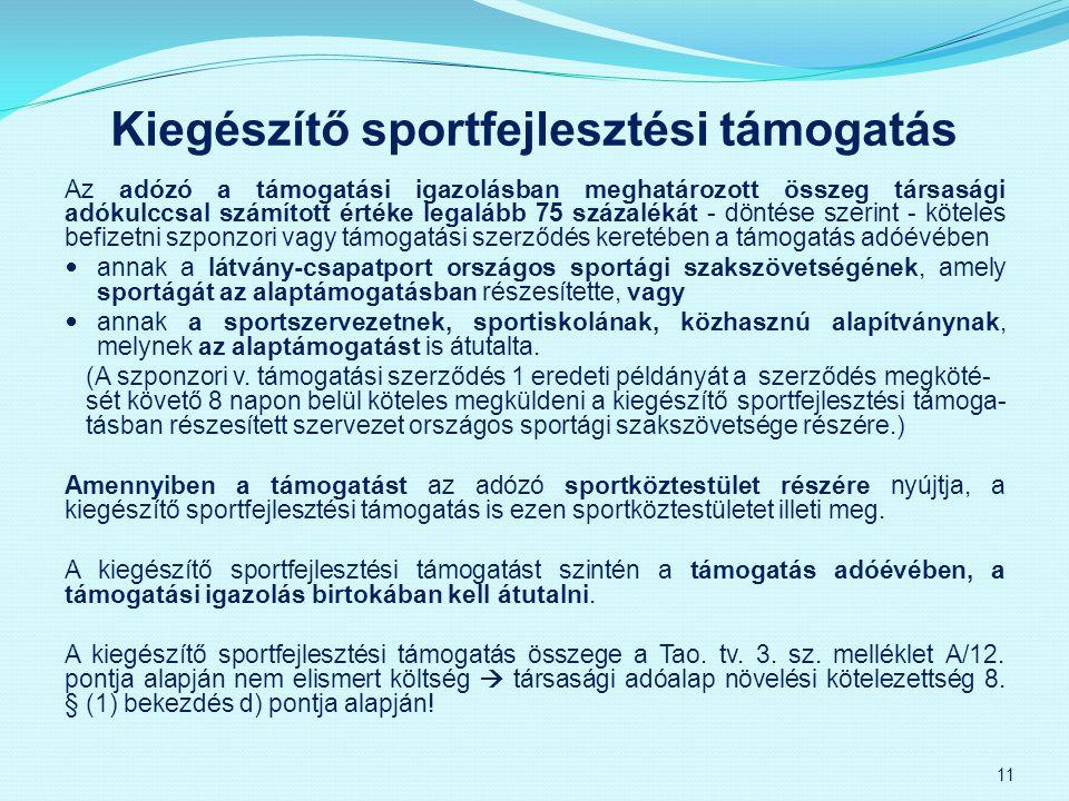 Kiegészítő sportfejlesztési támogatás