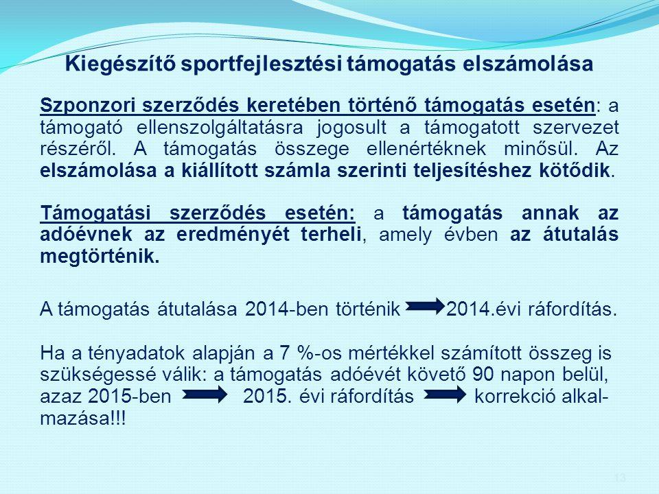 Kiegészítő sportfejlesztési támogatás elszámolása