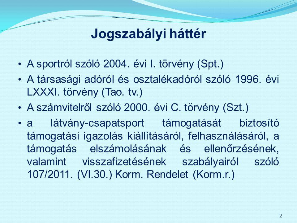 Jogszabályi háttér A sportról szóló 2004. évi I. törvény (Spt.)