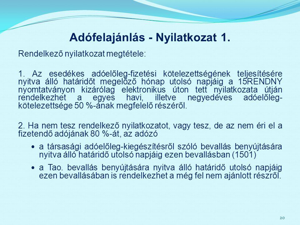 Adófelajánlás - Nyilatkozat 1.