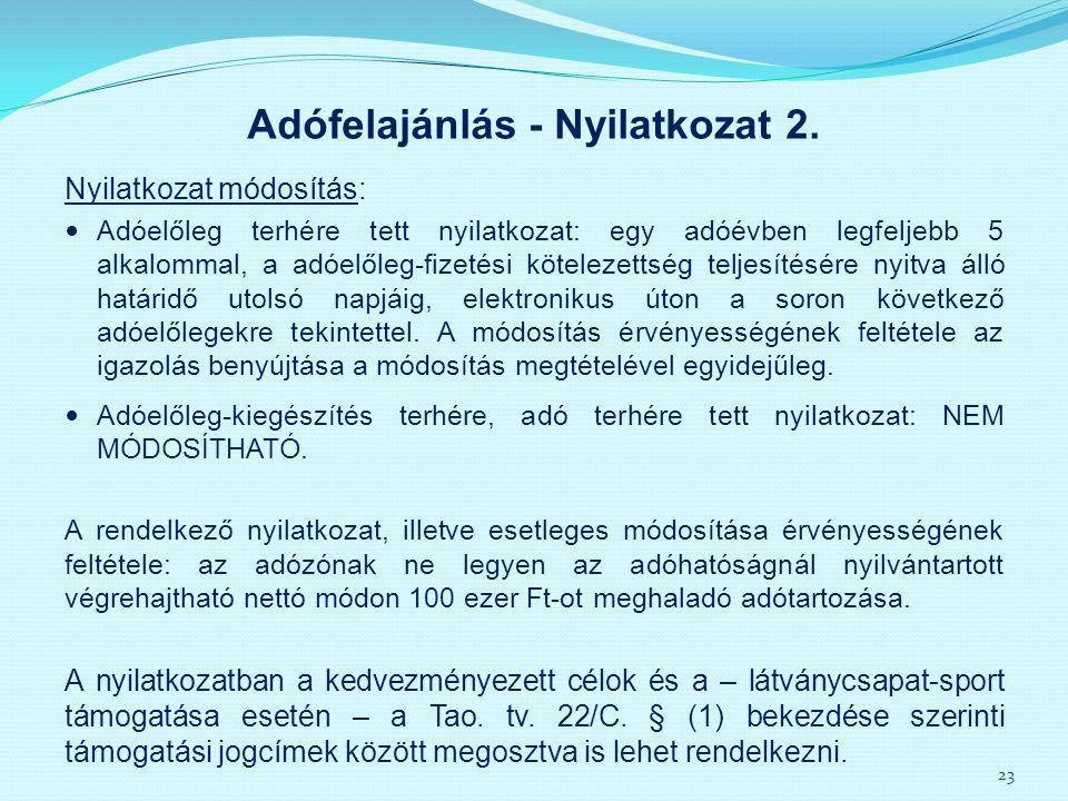 Adófelajánlás - Nyilatkozat 2.