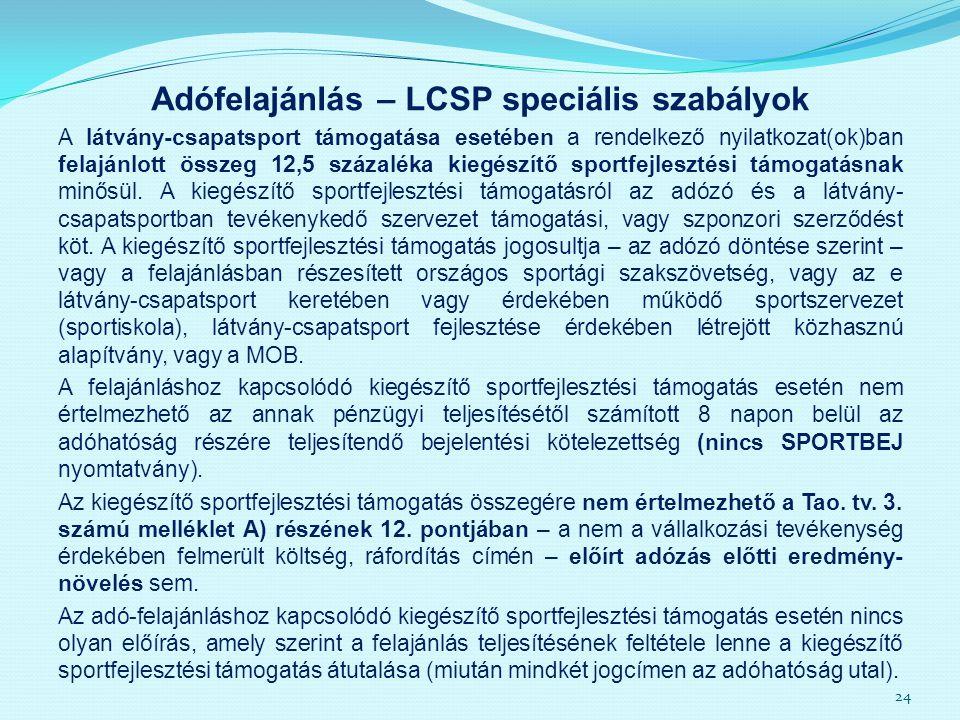 Adófelajánlás – LCSP speciális szabályok