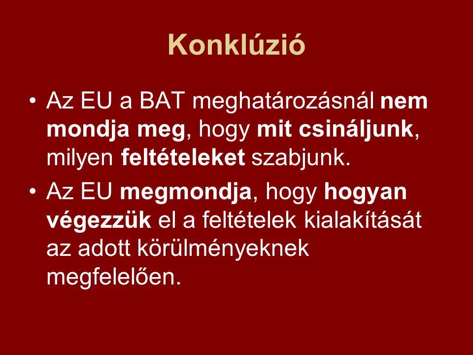 Konklúzió Az EU a BAT meghatározásnál nem mondja meg, hogy mit csináljunk, milyen feltételeket szabjunk.