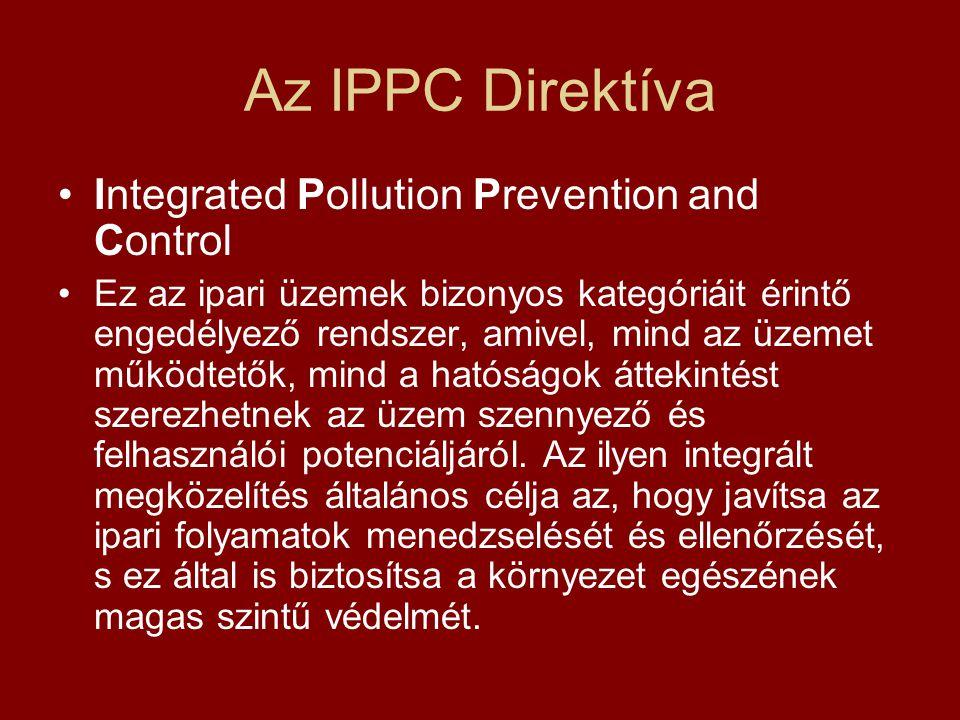 Az IPPC Direktíva Integrated Pollution Prevention and Control
