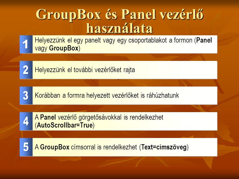 GroupBox és Panel vezérlő használata