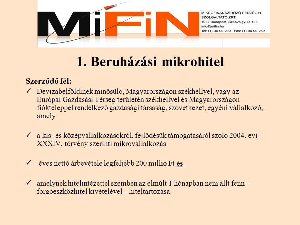 1. Beruházási mikrohitel