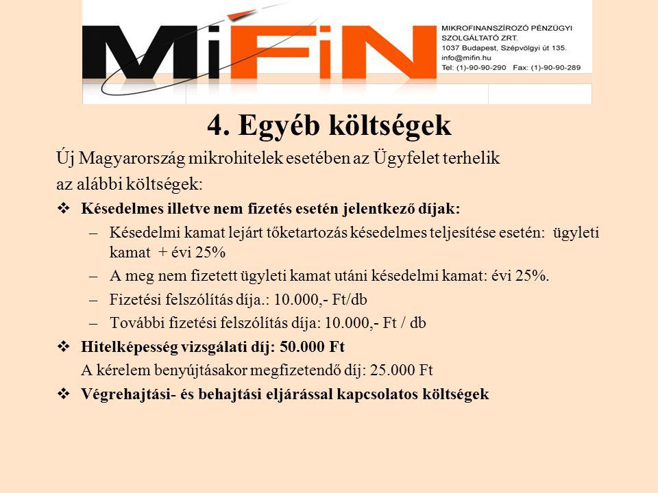 4. Egyéb költségek Új Magyarország mikrohitelek esetében az Ügyfelet terhelik. az alábbi költségek: